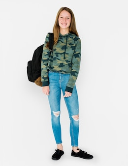 Student girl casual standing with smiling