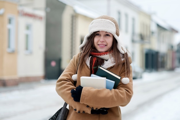 Student girl in wintertime