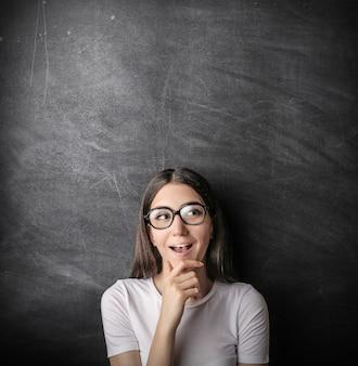 Student girl wondering