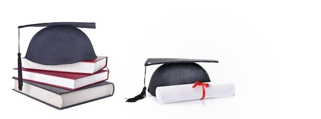 책에 학생 모자와 흰색 배경에 졸업장