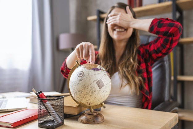 Student is stressed and wants a break with a trip around the world