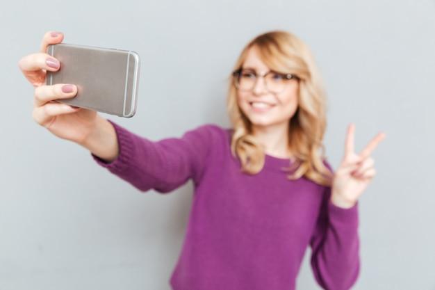 Student making selfie