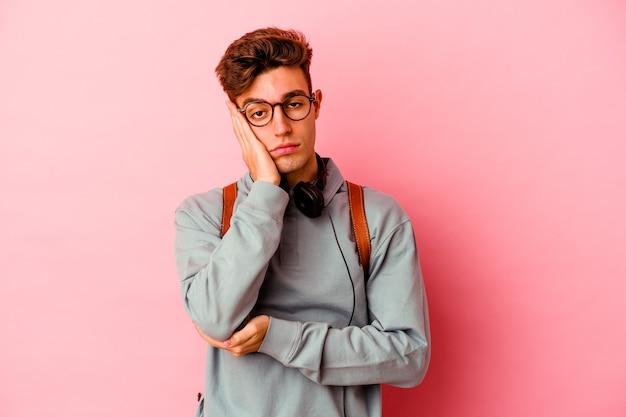 학생 남자 지루하고 피곤에 고립 된 핑크