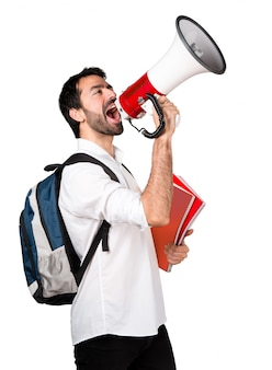 Student man shouting by megaphone