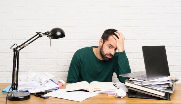 Student man stressed overwhelmed