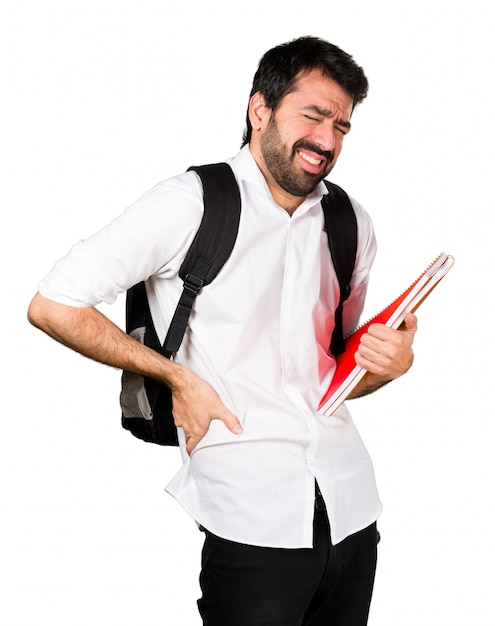 Student man with back pain