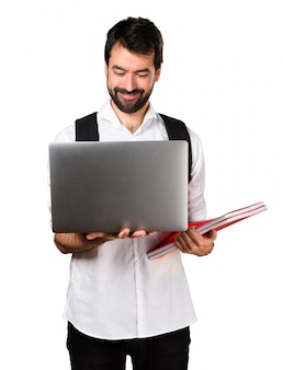 Student man with laptop