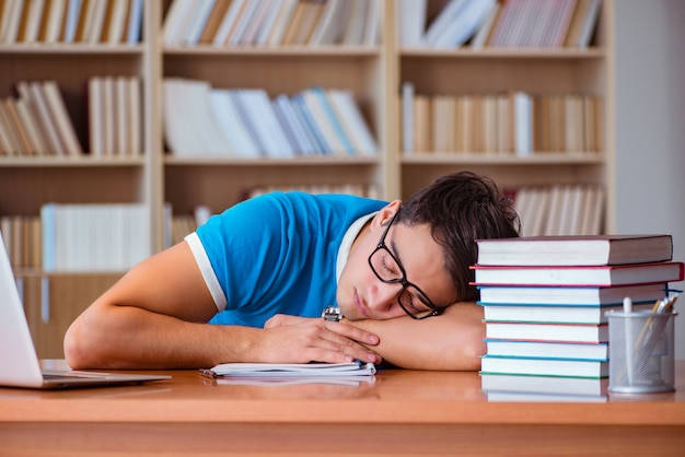 Student preparing for college exams