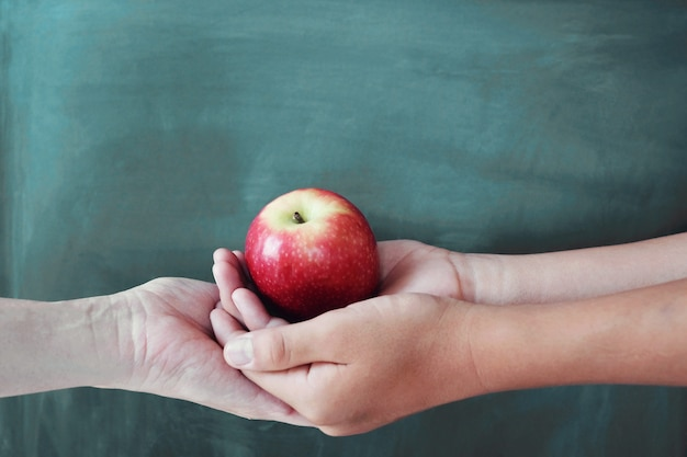 Student and teacher hands holding red apple with chalkboard background