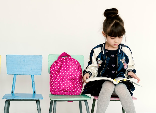 Student with backpack for education.