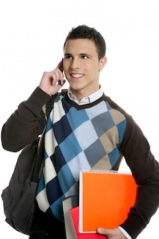 Student with bag, phone and books going school