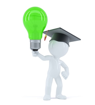 Student with green light bulb