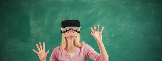 미래 교육과 고등학교 대학 대학에서 칠판 교육에 vr 안경 학생 ...