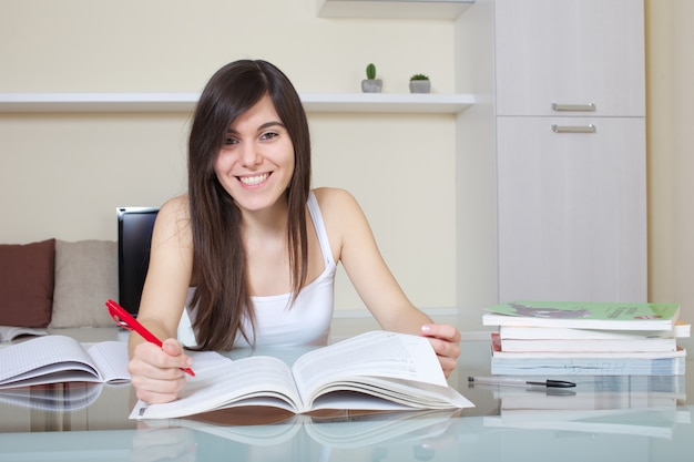 Student working at home