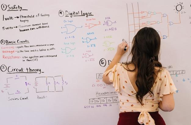 Студент, работающий на доске, изучает инженерное дело и электронику stem-образование