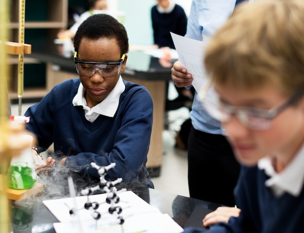 Students boys learning biology science
