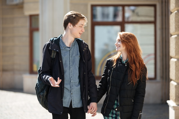 Students holding hands each other