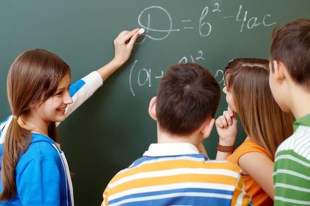 Students learning algebra