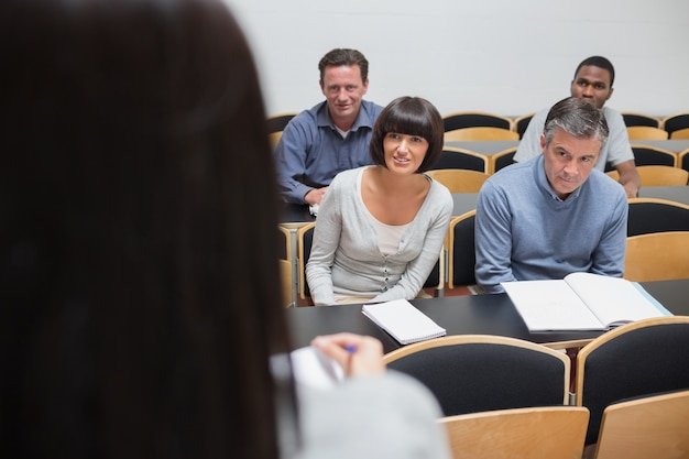 Students looking at lecturer