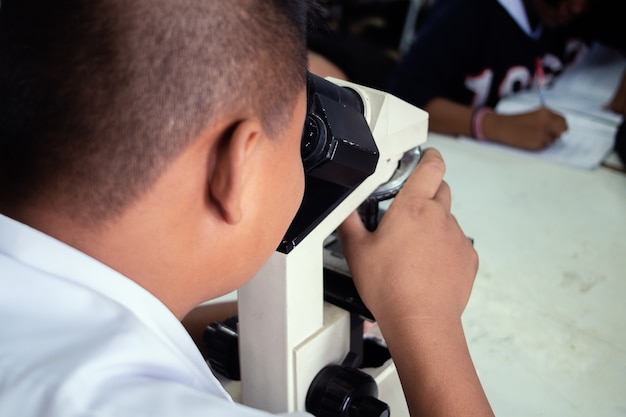 Students looking microscope in science class
