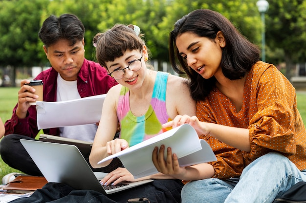 캠퍼스 야외에서 함께 공부하는 학생들
