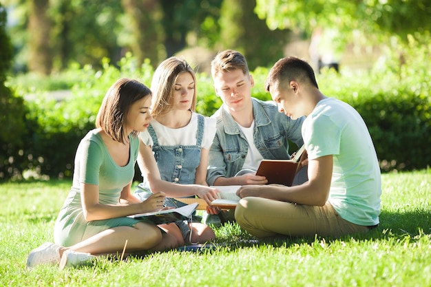 Students studying. young people preparing for the lessons. people getting ready to the exams.