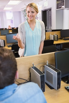 Students working on computer together