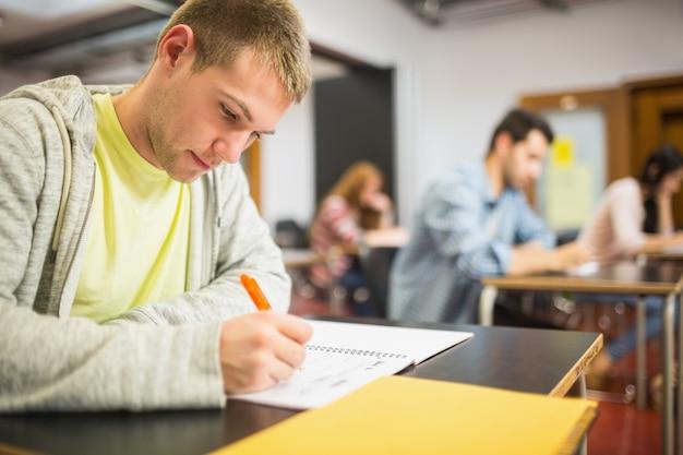 Студенты, записывающие заметки в классе