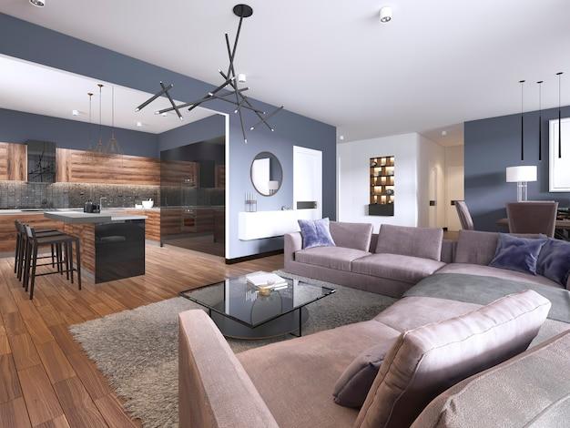 Квартира-студия, гостиная с тканевым диваном и местом для хранения тв, а также кухня с консолью на стене. 3d рендеринг