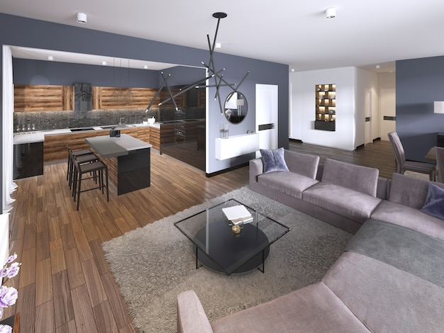 オープンリビングルーム、簡易キッチン、ダイニングエリア付きのスタジオアパートメント。 3dレンダリング