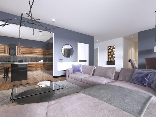 Апартаменты-студио с гостиной открытой планировки, мини-кухней и обеденной зоной. 3d рендеринг