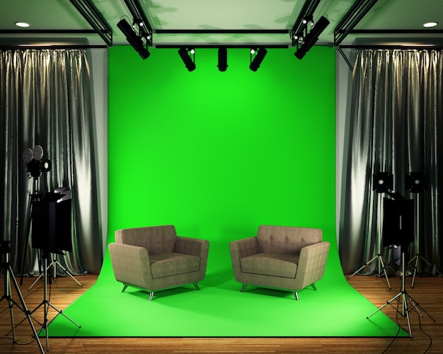 Studio big - modern film studio with green screen. 3d rendering