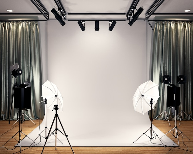 Studio big - modern film studio with white screen. 3d rendering Premium Photo