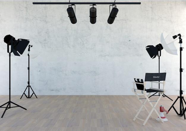 Studio equipment in studio room with empty space, 3d rendering