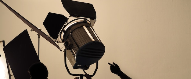 Studio light and back drop and soft box set up for shooting photo or video production which includes