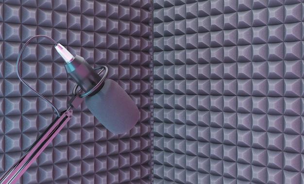 음향 폼이있는 녹음 코너 위의 스튜디오 마이크