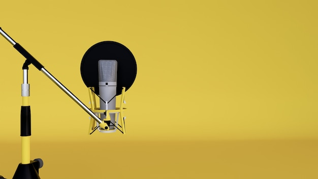 Studio microphone and pop shield on mic in the empty recording studio with yellow background