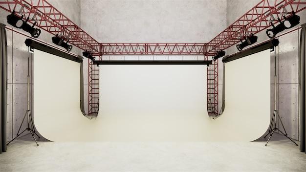 스튜디오-흰색 화면이있는 현대 영화 스튜디오. 3d 렌더링