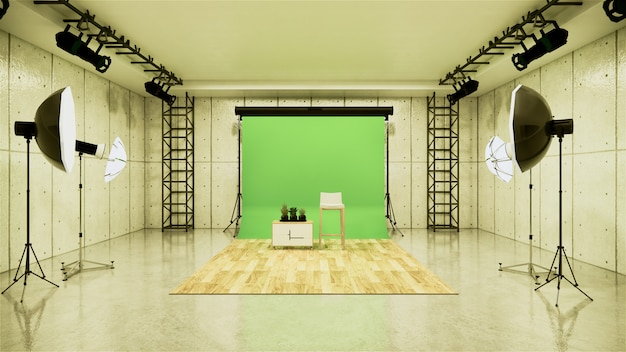 Studio - modern film studio with white screen. 3d rendering