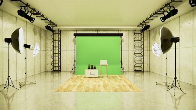 Studio - modern film studio with white screen. 3d rendering Premium Photo