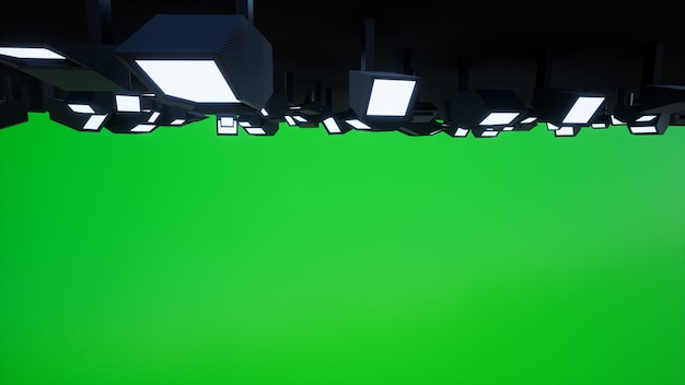 Studio overhead lighting with a green background