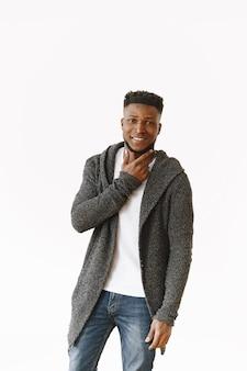 Studio photography. african ethnicity man posing casually