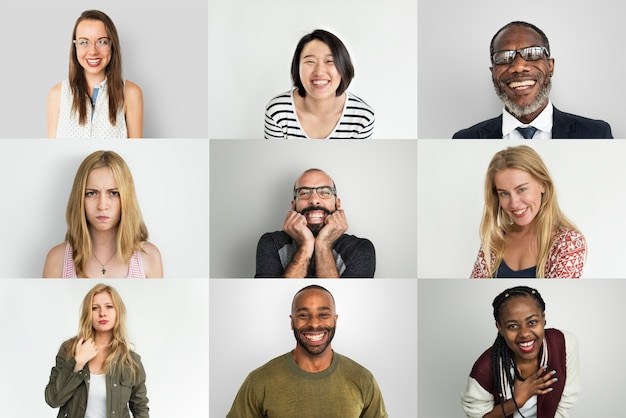 Un collage di ritratti in studio di persone diverse