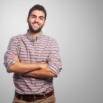 Studio portrait of confident brunet man.