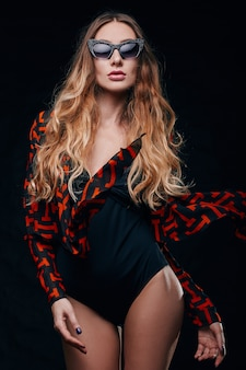 Studio portrait of a sexy senseual blonde