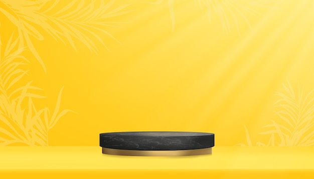 Studio room with black podium and palm leaves border on yellow wall background