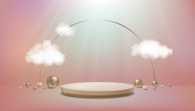 파스텔 바닥에 실린더 연단과 구슬 공이 있는 스튜디오 룸벽에 구름이 있는 갤러리 룸