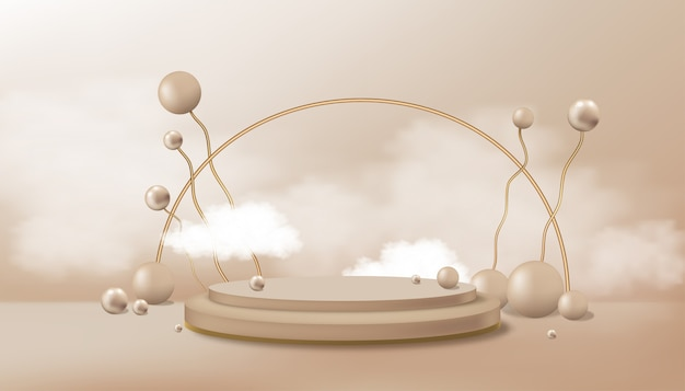 Studio room with futuristic random balls and cloud and cylinder podium stand