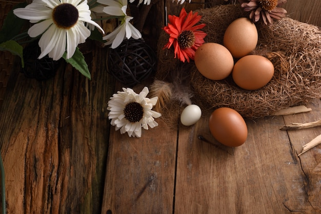 Studio shot of eggs on a black wooden background