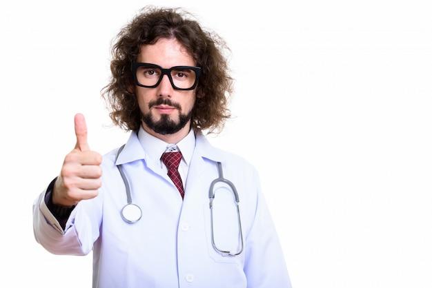 ハンサムな男性医師の親指をあきらめるのスタジオ撮影